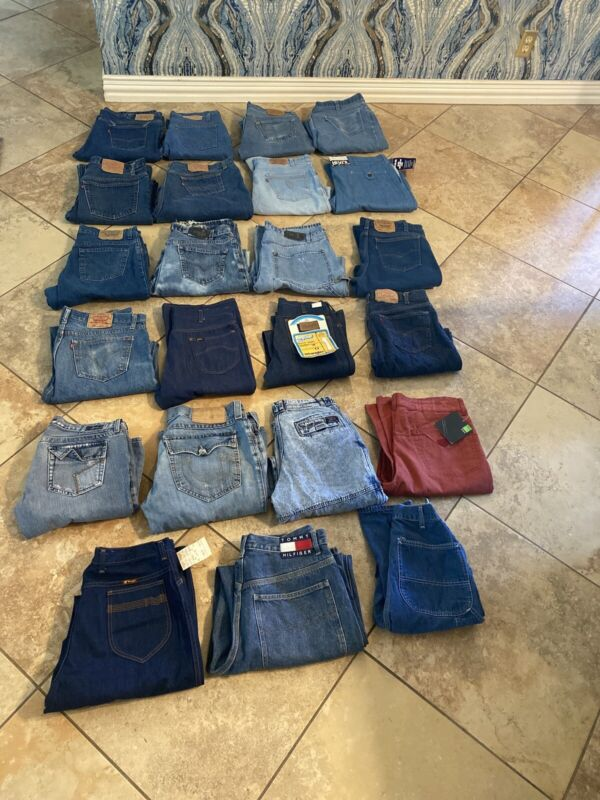 Vintage Jeans Lot Of 23 Levi's And Assorted 501 Silvertab Wrangler Tommy NOS