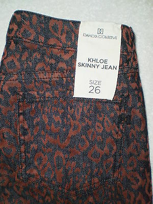 BB Dakota Collective Khloe Skinny Stretch Womens Leopard Jeans Size 26 New $136 ()