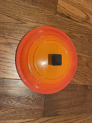 Vintage Le Creuset Dutch Oven Lid • D Enameled In Flame Orange