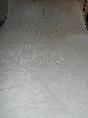 POPCORN DETAIL WHITE HAND CROCHET /TWIN/DOUBLE BED~C:1940'sHANDMADE~CHARMING