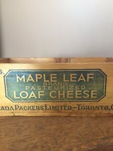 Very Rare and Rustic 1930s Maple Leaf Loaf Cheese Wooden Crate