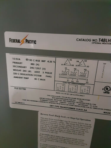 15 kva transformer 480 to 240/120 3 phase Federal Pacific