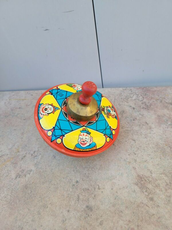Vtg. Chein & Co Tin Spinning Top Clowns Motif Mechanical Spinning Rod -Wood Knob
