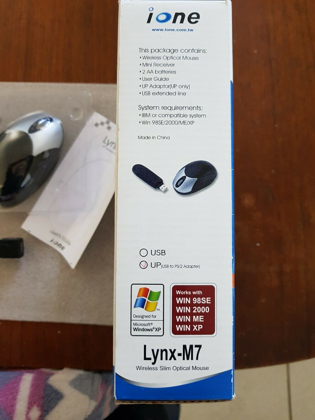 Souris ione lynx-m7 wireless slim optical mouse usb & ps/2