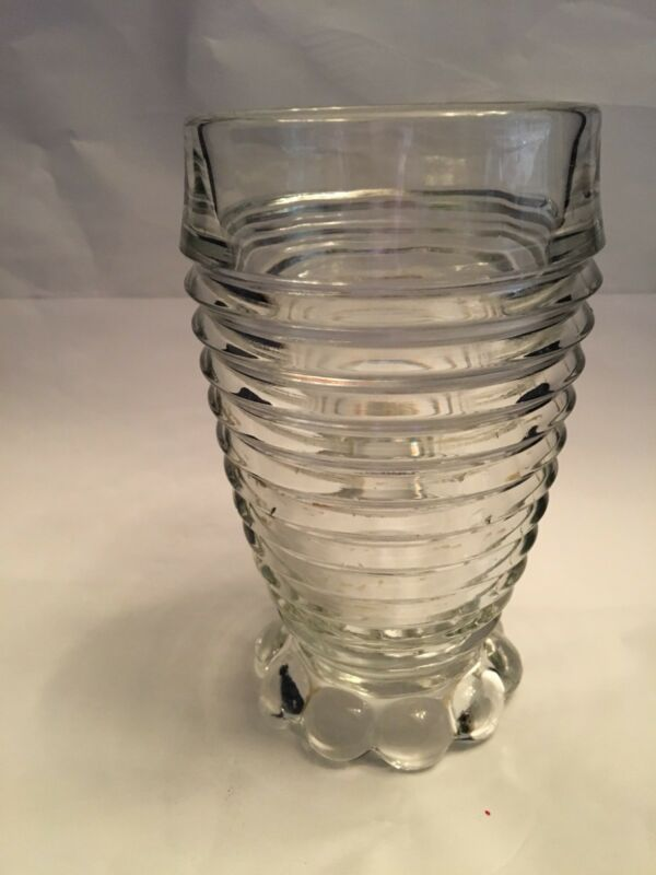 Manhattan glass/tumbler with bubble feet. Anchor Hocking. Vintage 1930-40.