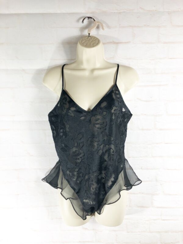 Vtg Victorias Secret Gold Label Lace Up Black Lace Teddie Lingerie Medium M