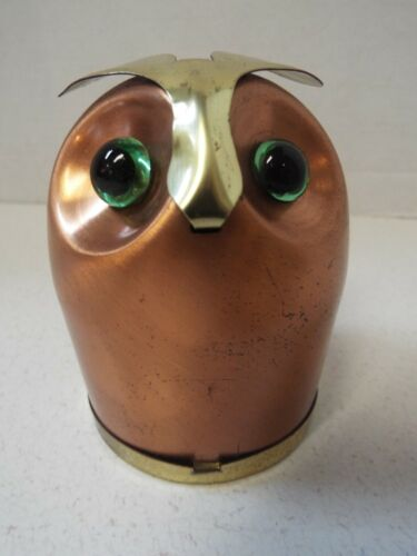 "Vintage Coppercraft Guild Owl Coin Bank Brass Copper 4"" Tall Taunton Mass."