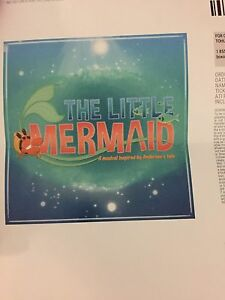 2 side by side tickets to the Little Mermaid Musical Aug 5,2017