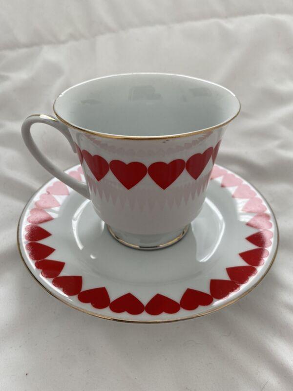 VINTAGE VALENTINE DAY HEARTS TEA CUP & SAUCER