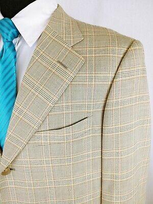 Pal Zileri Sartoriale Men's Blazer Sport Coat Jacket Plaid Beige 44R US 3 Button