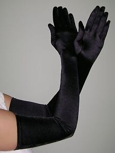 OPERA-LONG-Length-Stretch-SATIN-Gloves-BLACK