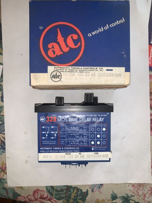 ATC Automatic Timing Controls 328 Time Delay Relay  5A, 1/6 HP 125-250VAC. 3A 30