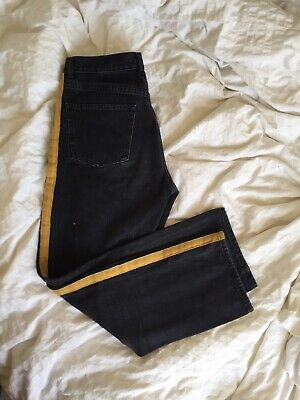 & Other Stories Jeans with Yellow Stripe Washed Denim Size 26 Stockholm Atelier