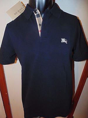 Burberry Brit Men Black Navy Short Sleeve Nova Check Placket Polo Shirt S M L Xl