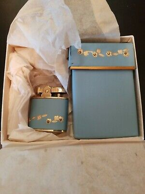 Vintage Rolfs Lighter And Cigarette Case Blue And Gold