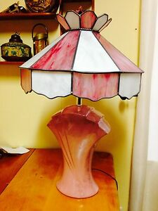 Vintage Flamingo Pink Stained Glass Table Lamp