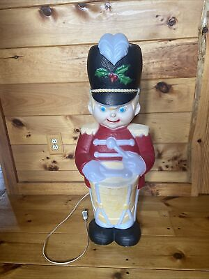 Vintage Drummer Boy Blow Mold Yard Decor Lighted Red Christmas Figure with Cord