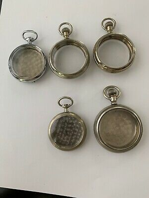 Lot of 5 Vintage Pocket Watch Cases Hamilton, Fahys Ores, Omega