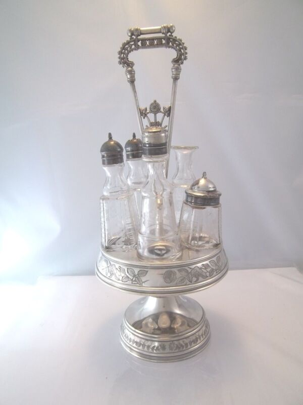 VICTORIAN CRUET CONDIMENT STAND SILVERPLATE HOLDER WITH SQUARE BOTTLES SET