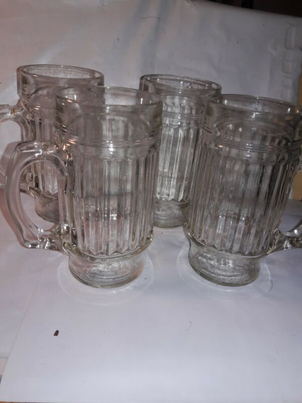 "Vintage Root Beer Clear Glass Ribbed 6"" Mug RARE each with updifferent number"