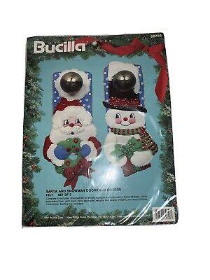 Bucilla Christmas Santa & Snowman Felt Door Knob covers 82756 NEW! Snowman Door Knob