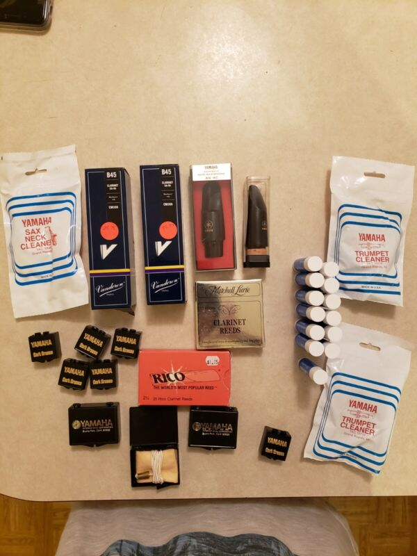 Lot Of Yamaha Clarinet and Sax Mouthpieces And Mix Of Reeds, Grease And...