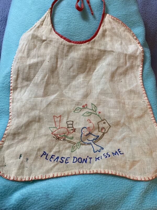 """Vintage Ivory & Red Handmade Bib """"Please Don't Kiss Me"""" Embroidered"""