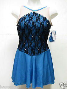 SKATING DRESS Teal Competition Ice Figure Skate Outfit Crystals Baton Adult XL
