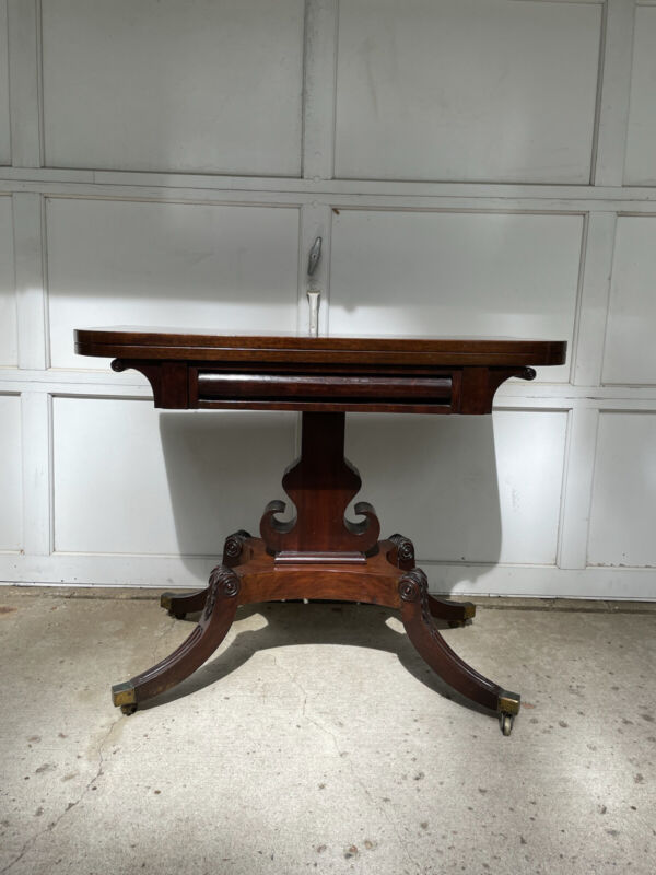 Circa 1820 English Regency Mahogany Leather Top Card Table Acanthus Leaf Carved