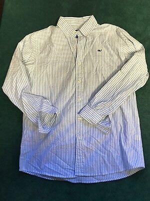 Vineyard Vines Whale Shirt Moonshine Stripe Blue Classic Fit LS Medium  M ()