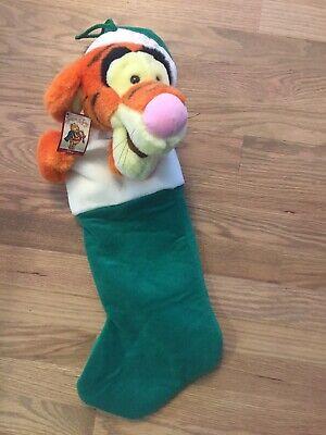 "Vintage Tigger Plush Christmas Stocking 24"" Santa Hat Disney Winnie The Pooh NWT"
