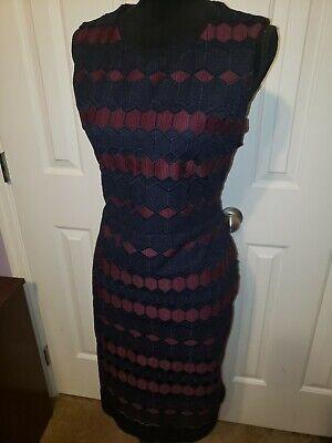 Calvin Klein Women's Lace Sheath Dress Side Scuba Panel! NWT Size 14 Aub/Navy Side Panel Dress