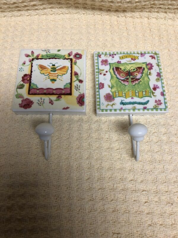TWO (2) Kimberly Hodges Ceramic Hooks Very Pretty, White Honey Bee  & Butterfly