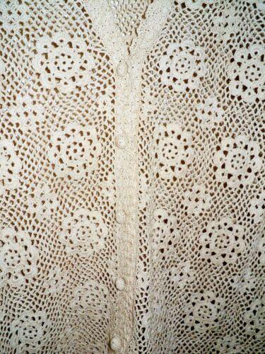 Vtg CROCHETED CARDIGAN Cotton SWEATER Jacket Sz XL Ecru -Looks Like Lacy Doilies