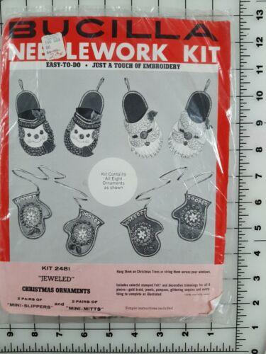 Vintage Bucilla Needlework Kit JEWELED Christmas Ornaments Kit 2481 Mini Mittens