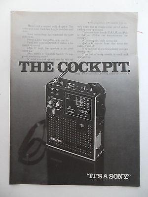 1975 Print Ad Sony Radio Player ~ The Cockpit