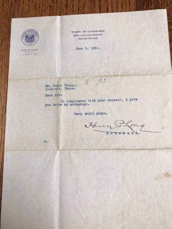 TYPED SIGNED 1931 LETTER FROM LOUISIANA GOV HUEY P LONG