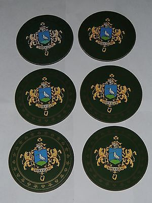 "SET OF 6 Heraldic Coasters - SHEEHAN - Coat of Arms Crest New 3 1/2"" Round"