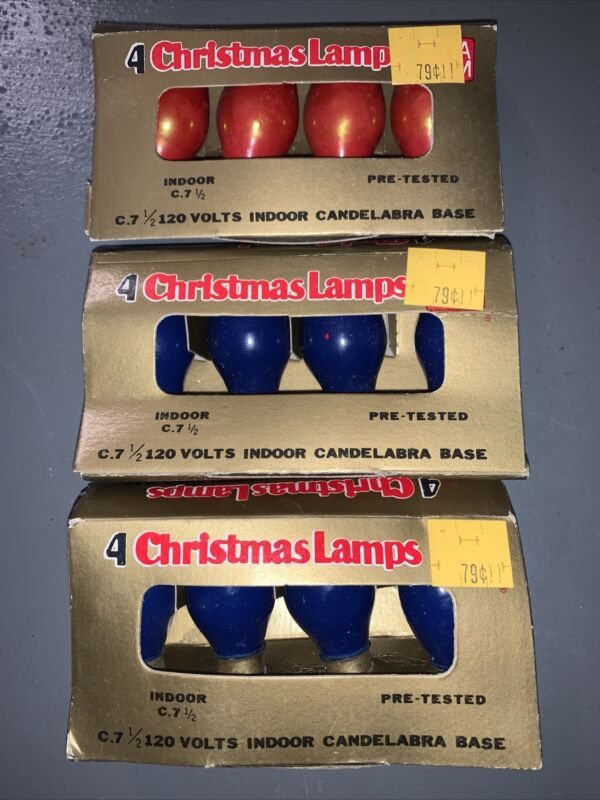 Vintage C 7 1/2 Replacement Christmas Bulbs ~ Red & Blue   3 sets of 4