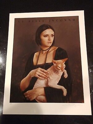 AARON NAGEL art cat poster print Lady with Sphinx giclee 1xRUN limited /50