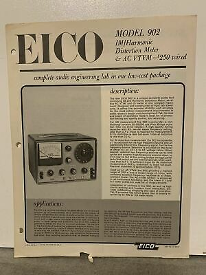 Original Eico 902 Harmonic Distortion Meter Ac Vtvm - Product Brochure Ad