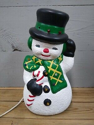 Vintage Ceramic Light-Up Christmas Snowman Decoration 1970s Hand Painted