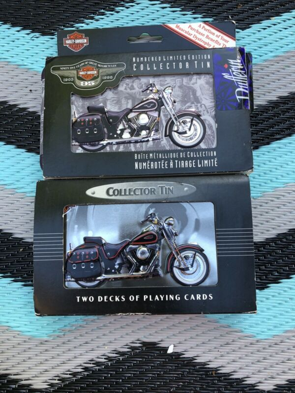 (2) HARLEY DAVIDSON  Casino Quality Collector Tin and 2 Decks of Playing Cards