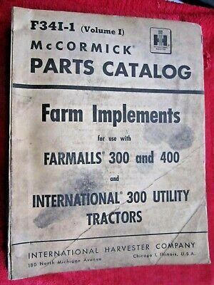 Ih Mccormick Farmall 300 400 Tractor Farm Implements Parts Catalog Manual