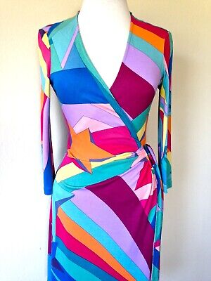 Wonder Woman Apparel (DIANE VON FURSTENBERG VINTAGE DIANA WONDER WOMAN SILK WRAP DRESS US 6 8 UK 10)