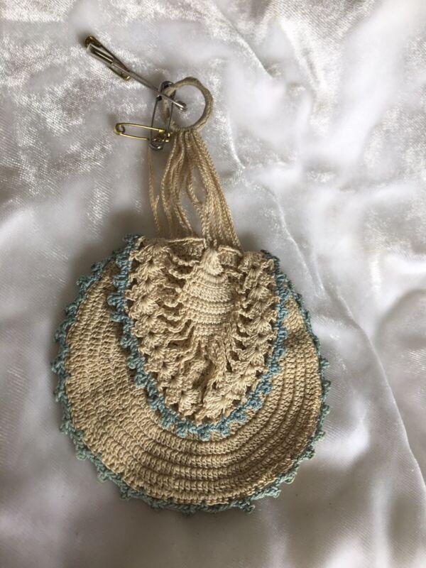 Antique Vintage Crochet Needle Holder Ecru Blue Chatelaine