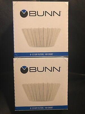 Brewer Funnel - **2** 100ct BUNN Coffee Tea Filters Home Brewer 8-10 Cup Makers Funnels BCF100-B