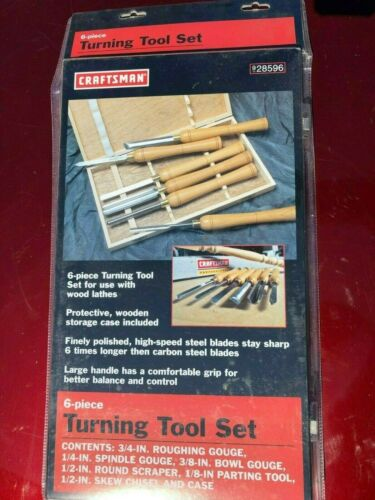 Craftsman 28596 6-Piece Turning Tool Set NEW High Speed Steel HSS for wood lathe