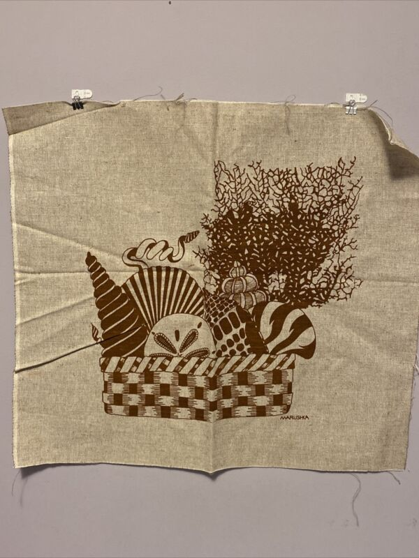 MARUSHKA Vintage Seashells Basket Canvas Fabric MCM 24 X 22 Brown
