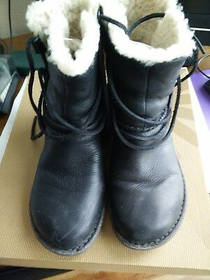 UGG Women's Caspia Boot Black Leather Laced Ankle boots Size 6(US) 37(EU), used for sale  Lake Elsinore